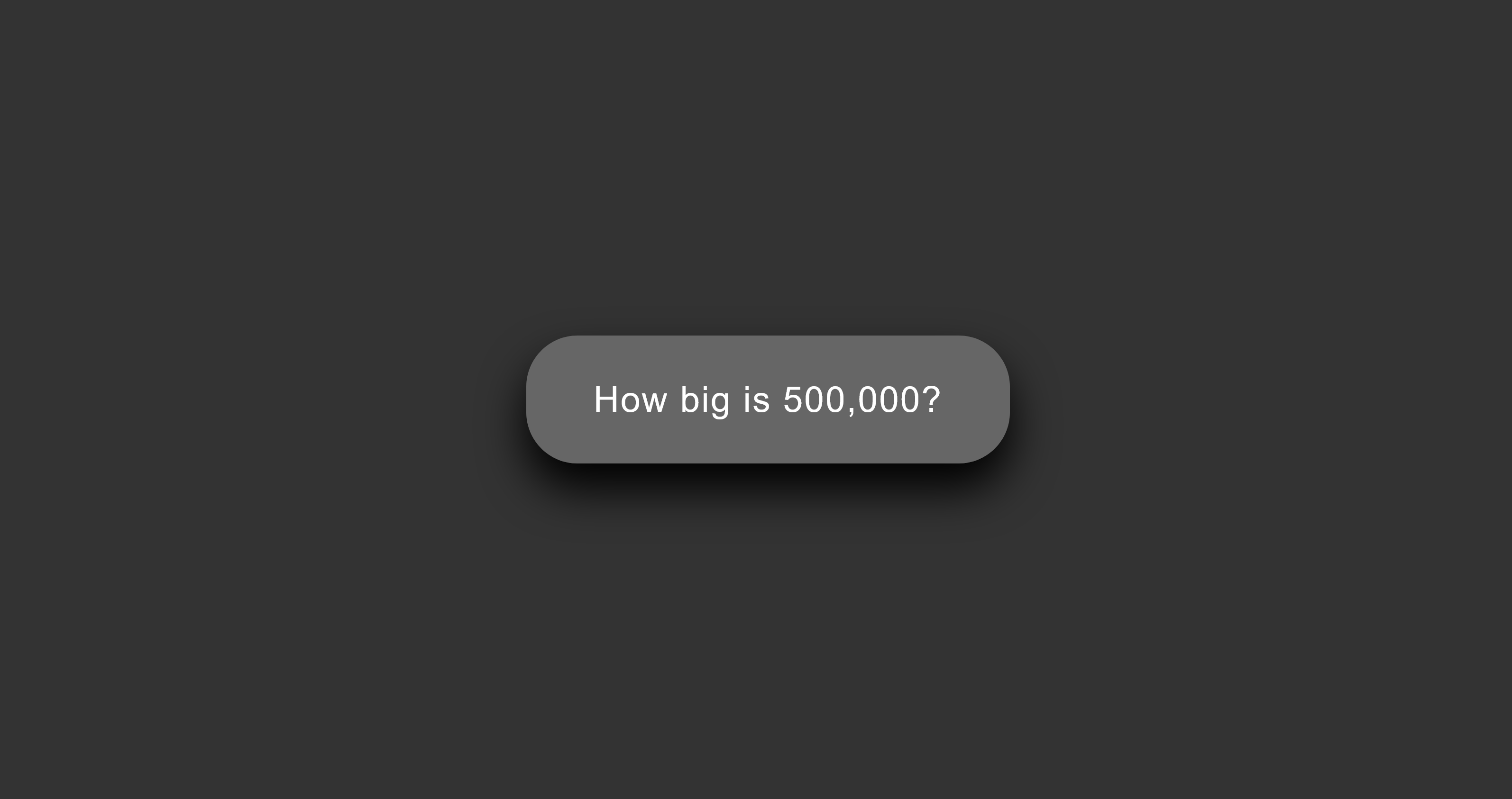 Screenshot of starting button for 'How big is 500,000?' data visualization about Covid deaths.