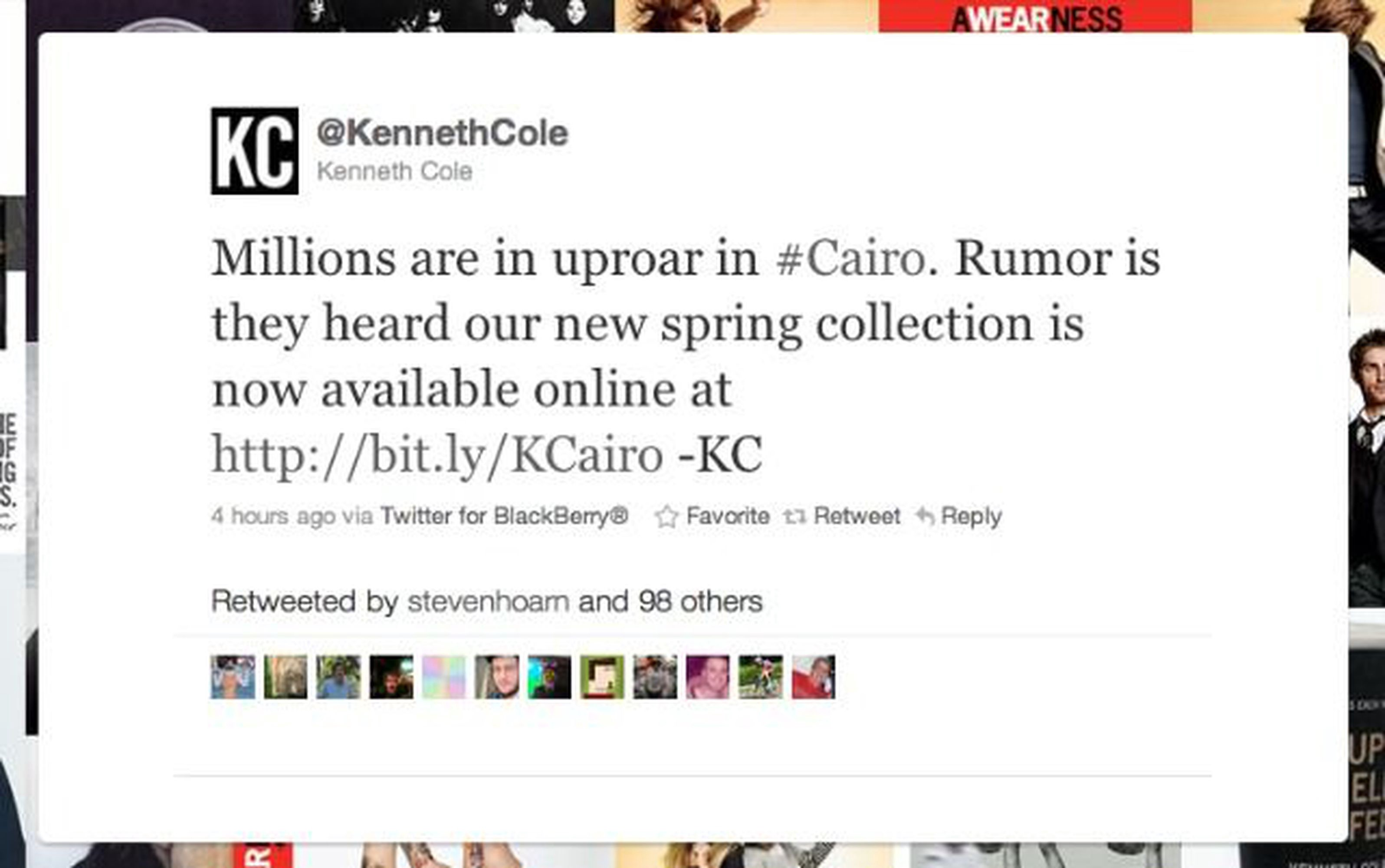 Screenshot of insensitive Kenneth Cole tweet