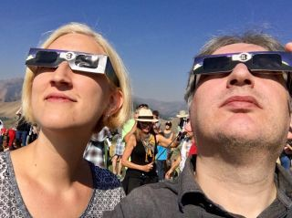 Checked in at Valley View Trail. Hiked up a hill for the eclipse — with Jessica