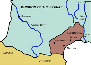 The historical region of Septimania in 537 CE, before the Muslim advance. Narbonne traditionally was the area's capital city.