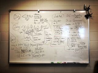 The author's whiteboard with notes from interview transcripts.