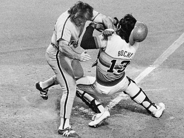 Pete Rose Runs Over Astros Catcher Bruce Bochy In Game 4 Of The 1980 NLCS This Iconic Picture More Than Any Other Encapsulates Houston