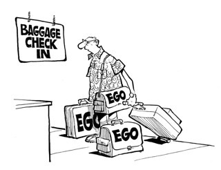 """Cartoon featuring a man at baggage checking with multiple bags labeled """"Ego"""""""
