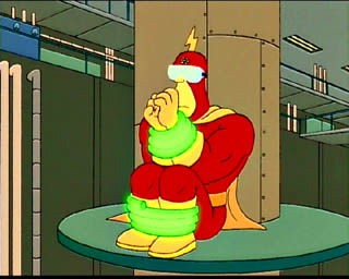 Radioactive man tied to a pole with goggles, about to scream 'my eyes! The goggles do nothing!' From The Simpsons