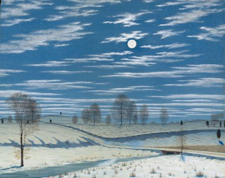 """Winter Scene in Moonlight."" Artist. Artist, Henry Farrer, 1869."