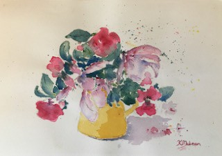 Painting of flowers in a pitcher. Arts such as painting improve our mental health.