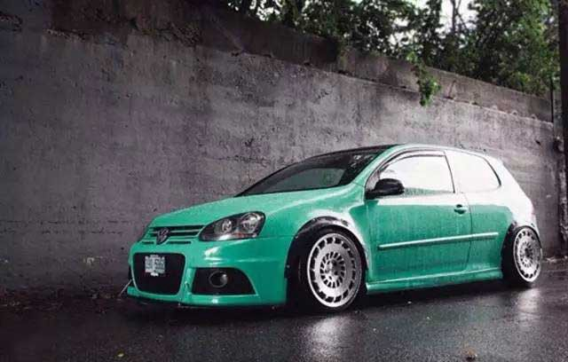 Golf Gti Tiffany Green Style Modification With Player On The Trunk By Car Light Retrofit Medium