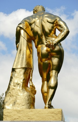 A gilded statue of Hercules on the grounds of the Château de Vaux-le-Vicomte.