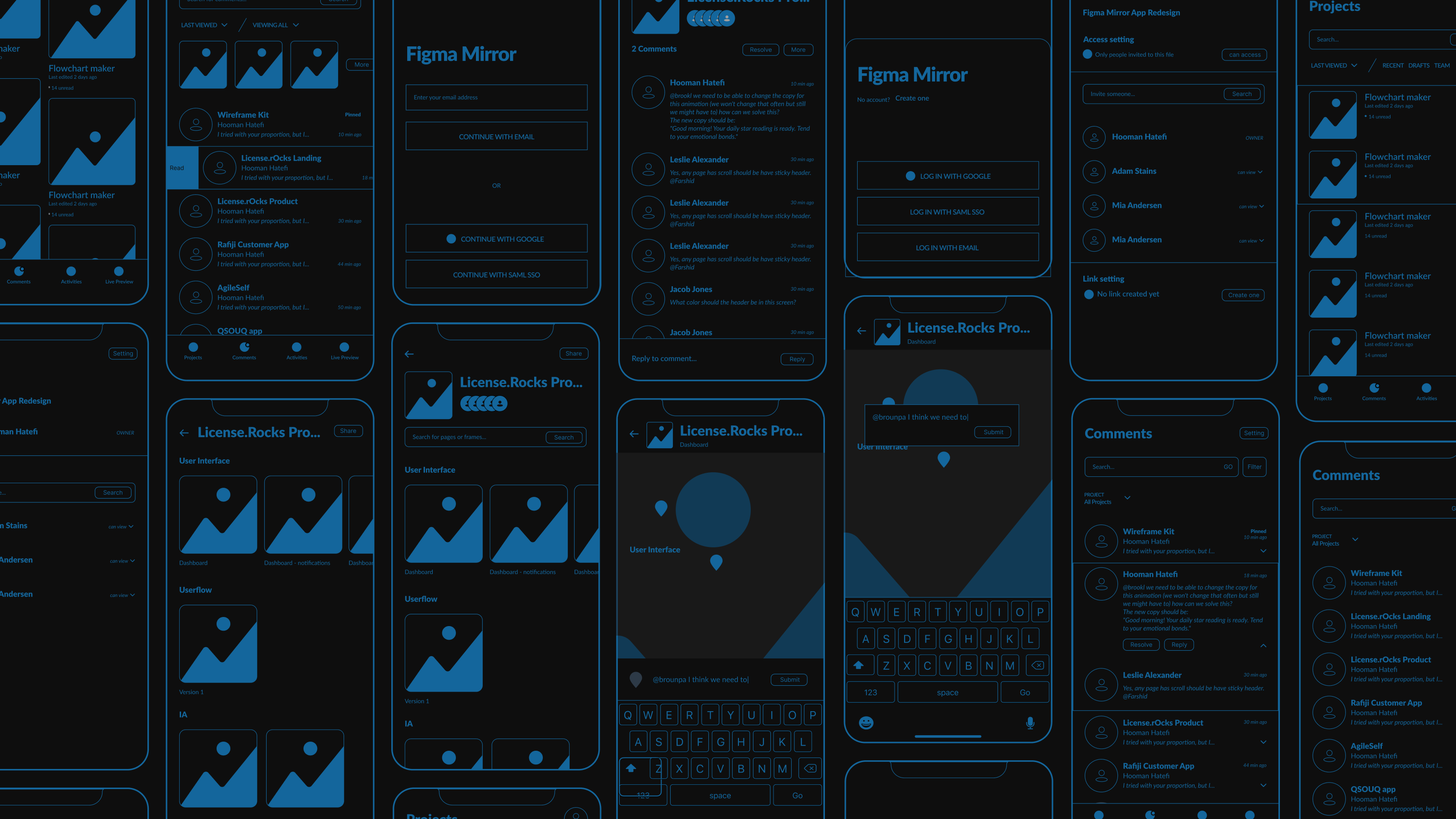 Wireframes of the project