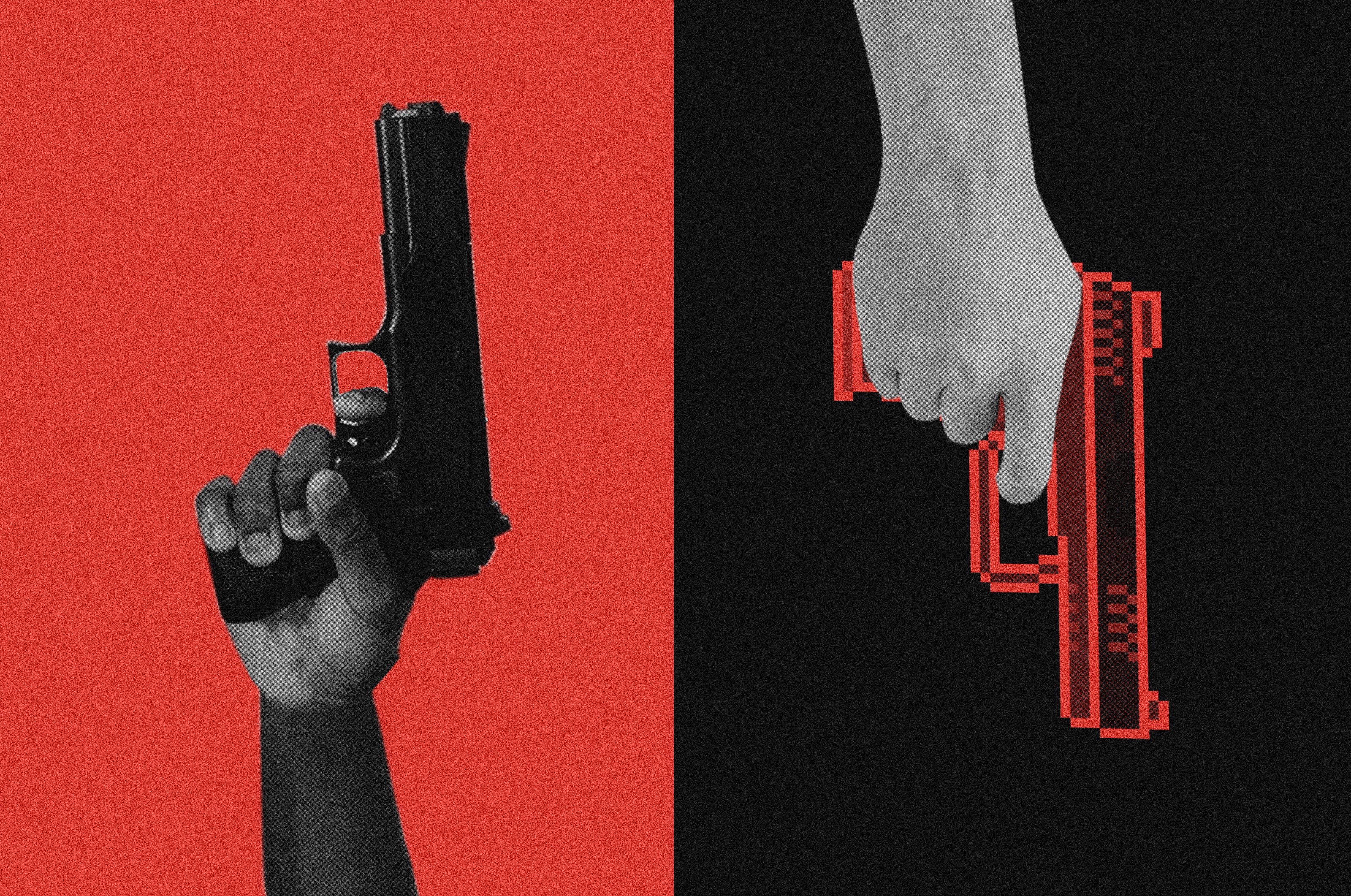 A black person's hand holding a gun pointed up on a red background next to a white hand pointing one down on black background