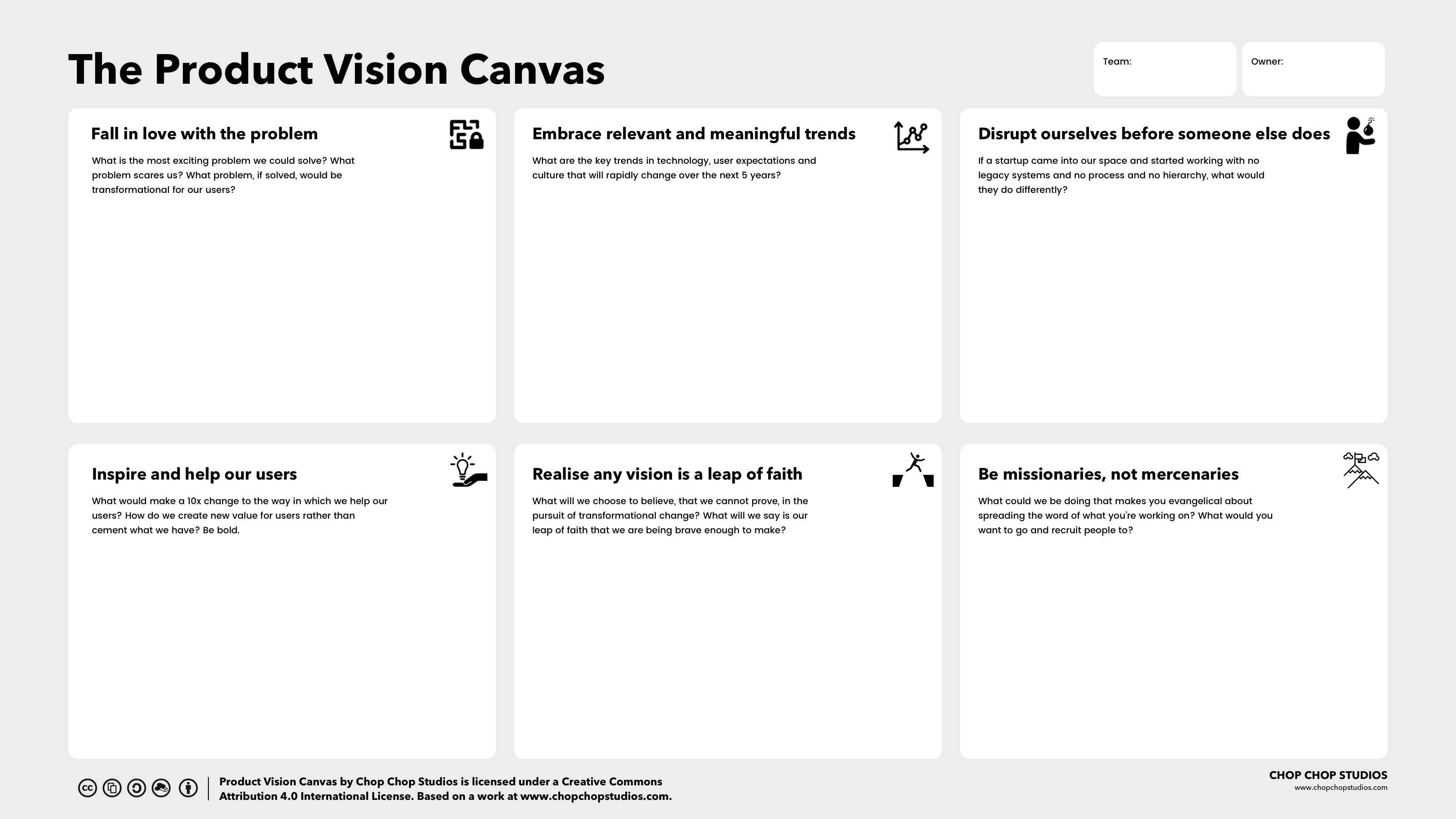 Product Vision Canvas - a new approach for teams  - chop