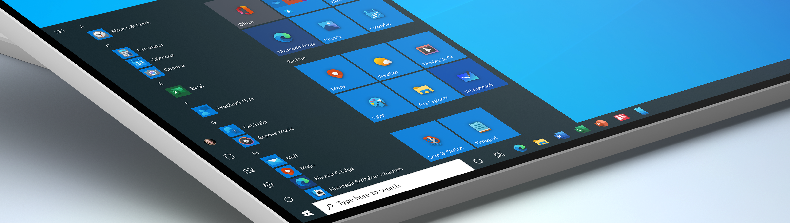 Windows 10 Start menu with Fluent iconography