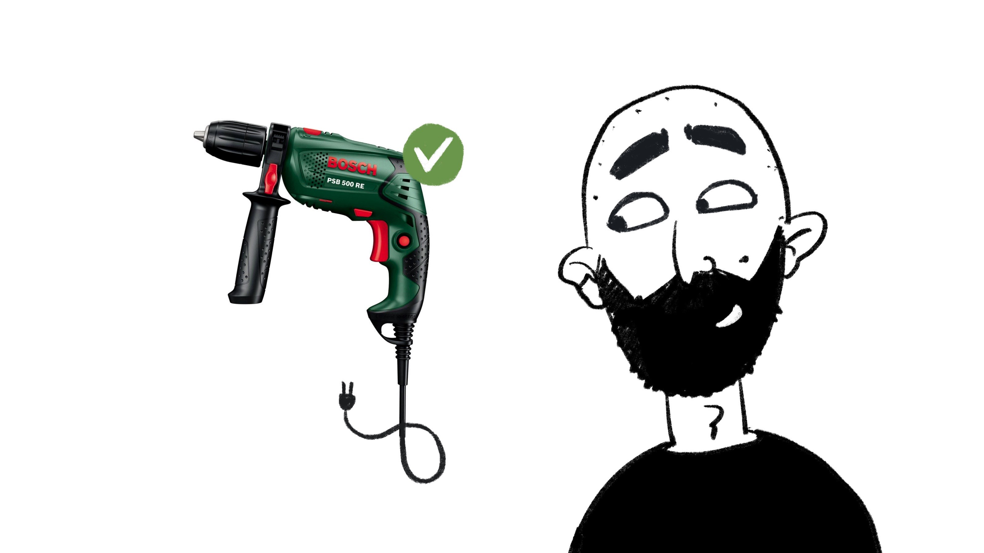 Me, looking at a drill I just bought.