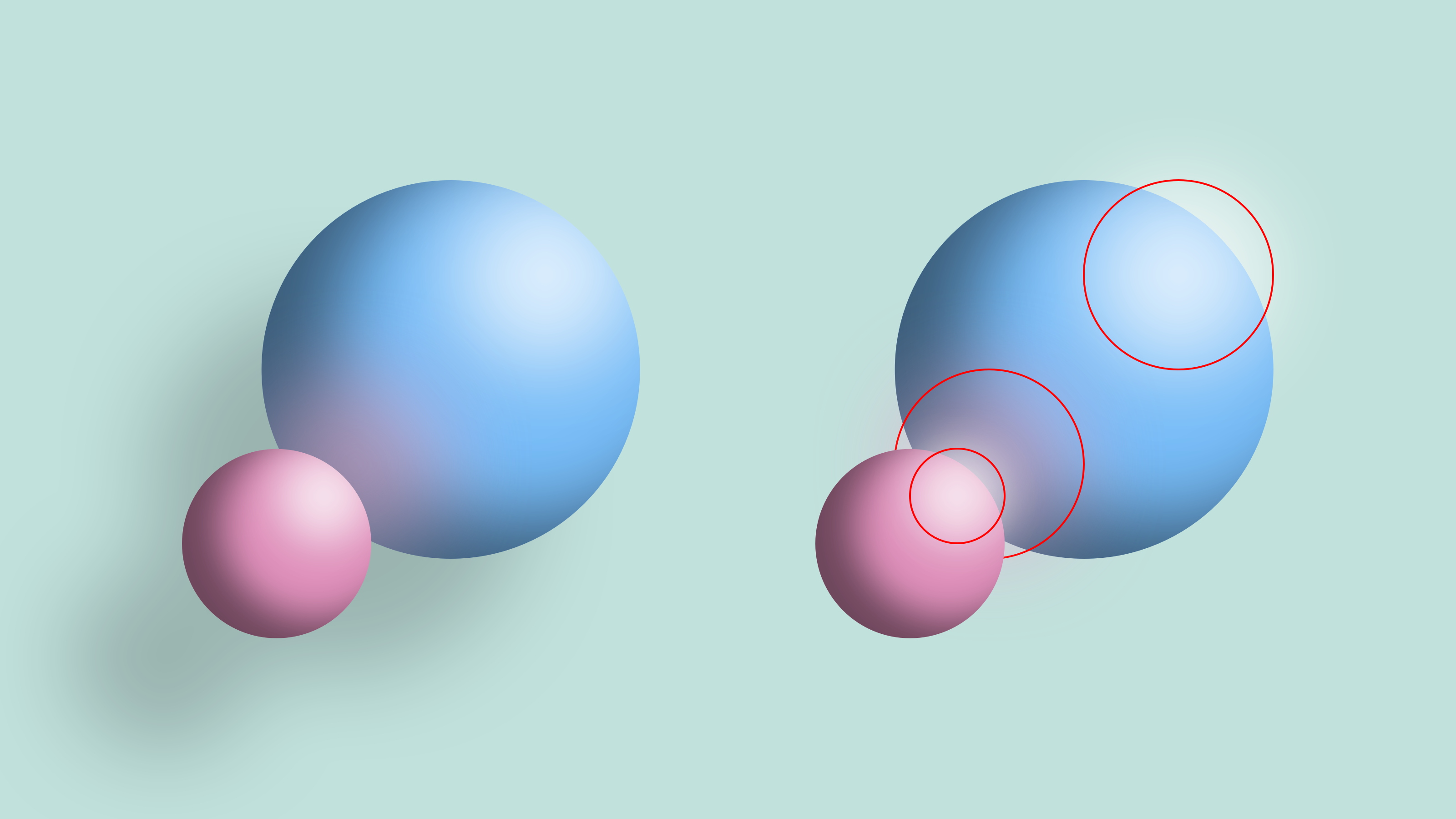 Explaining the layer setup of light elements reflecting on the two spheres of the sample image