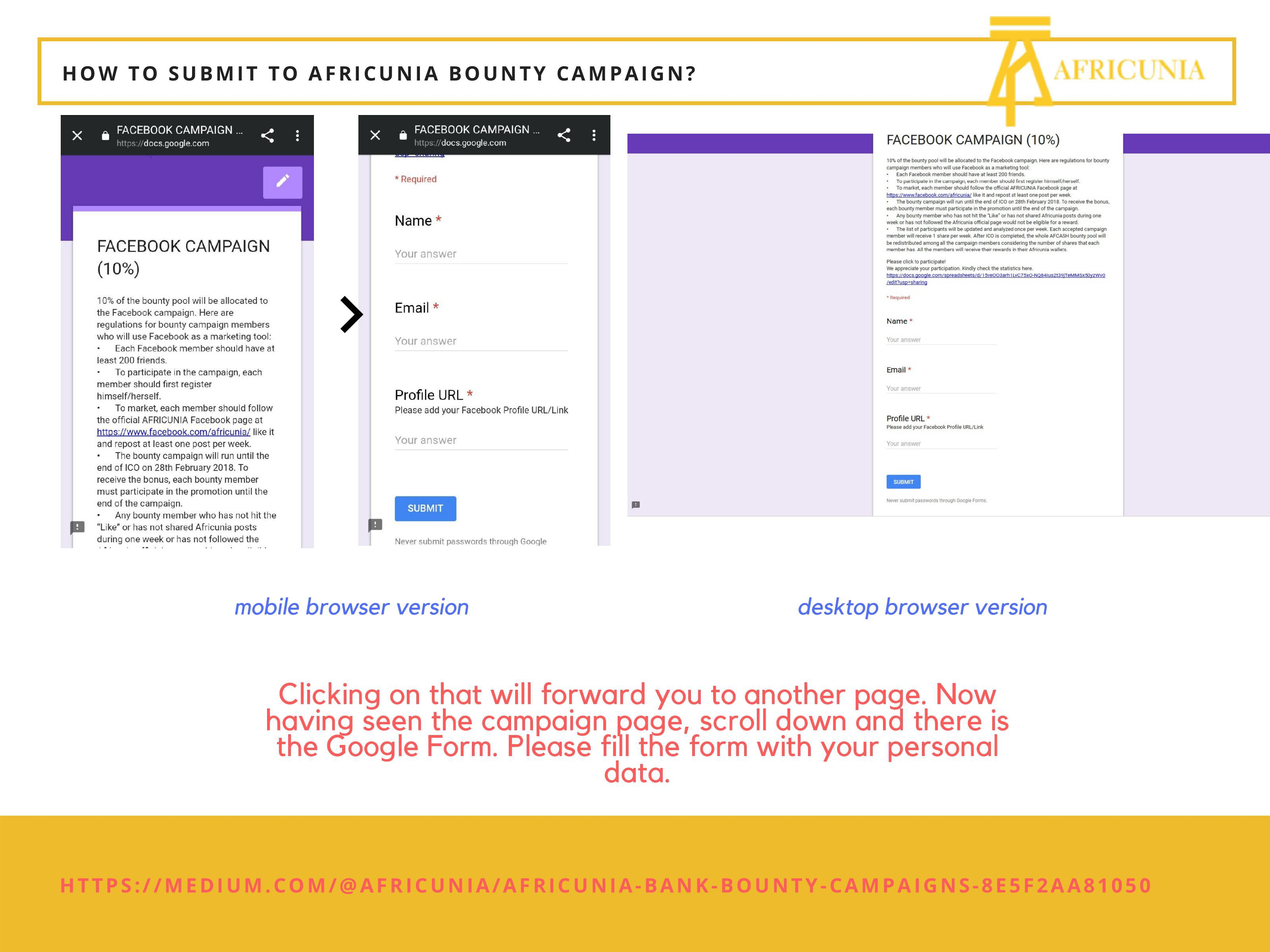 How to submit to Africunia Bounty Campaign? - AFRICUNIA BANK