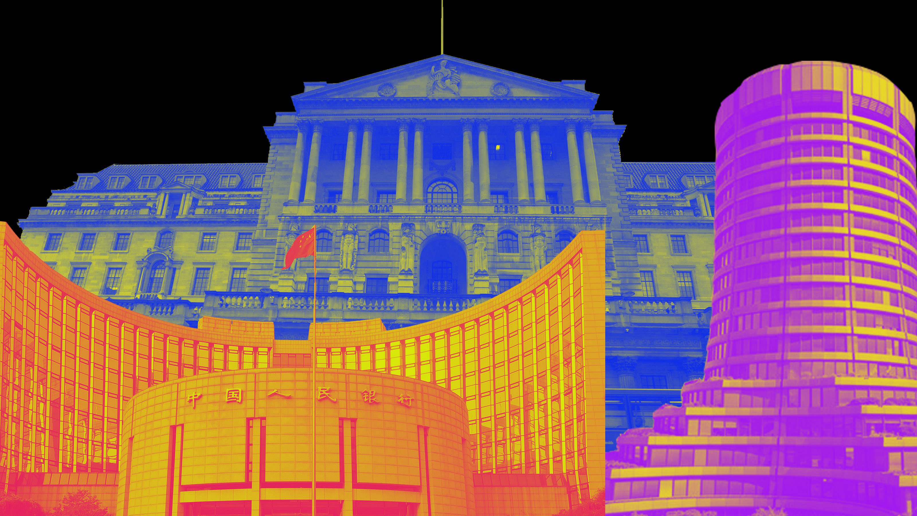 A collage of three governmental buildings tinted blue, orange, and fuchsia (respectively) on a black background.