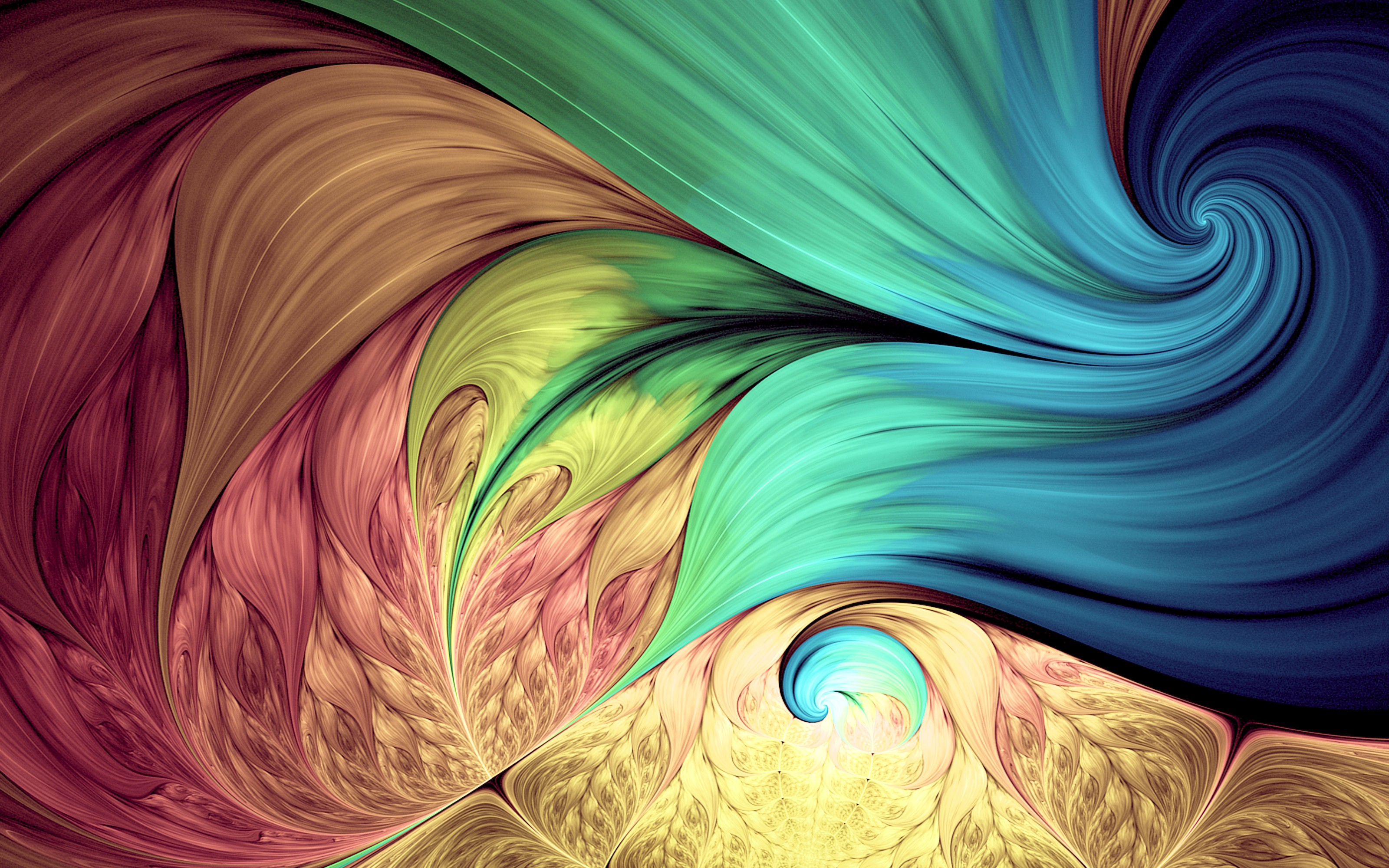 Image of colorful swirls—dark pink, yellow, blue and green