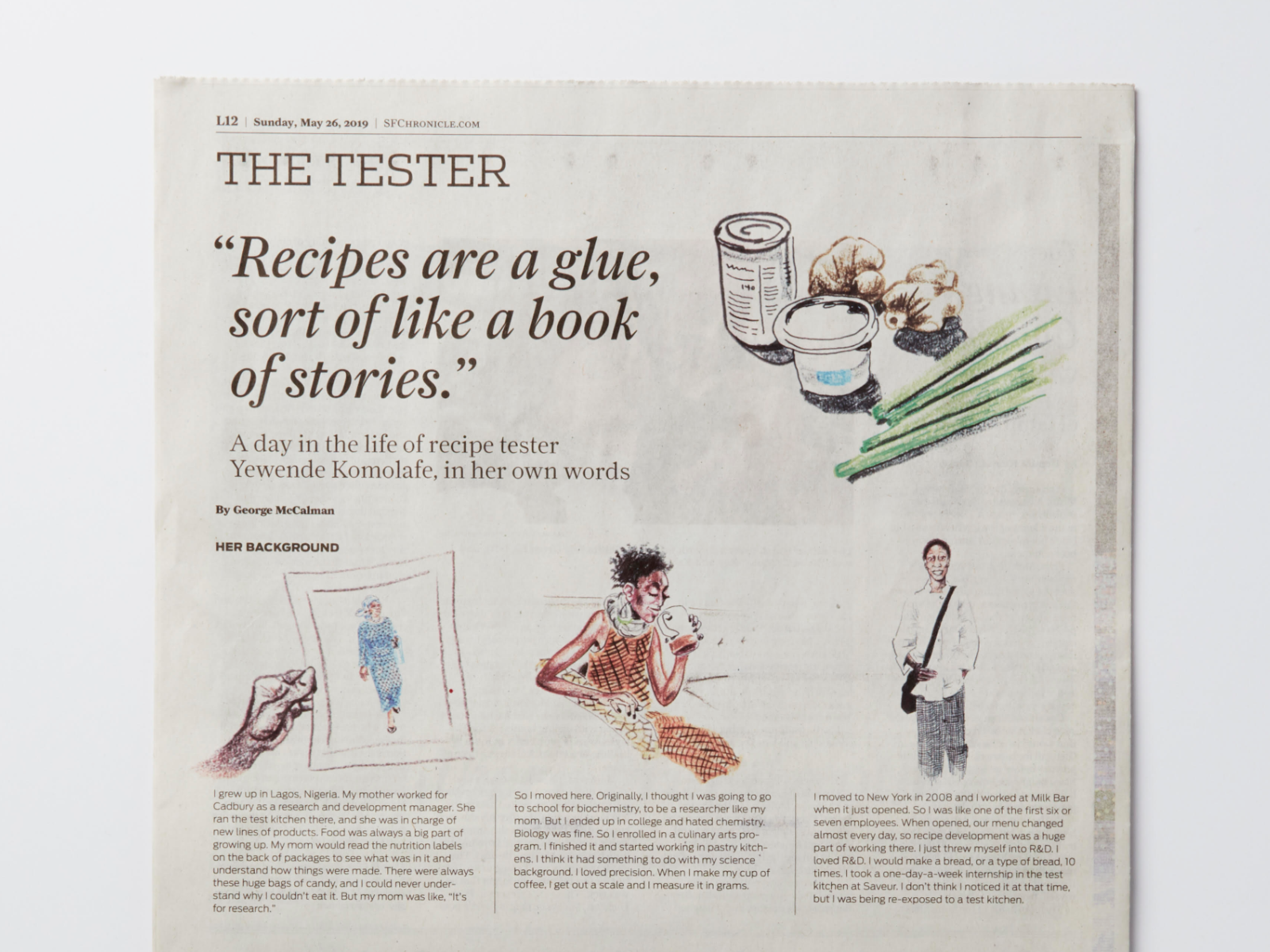 """Illustrated newspaper interview with the title text """"The tester, a day in the life of recipe tester Yewende Komolafe, in her own words.:"""