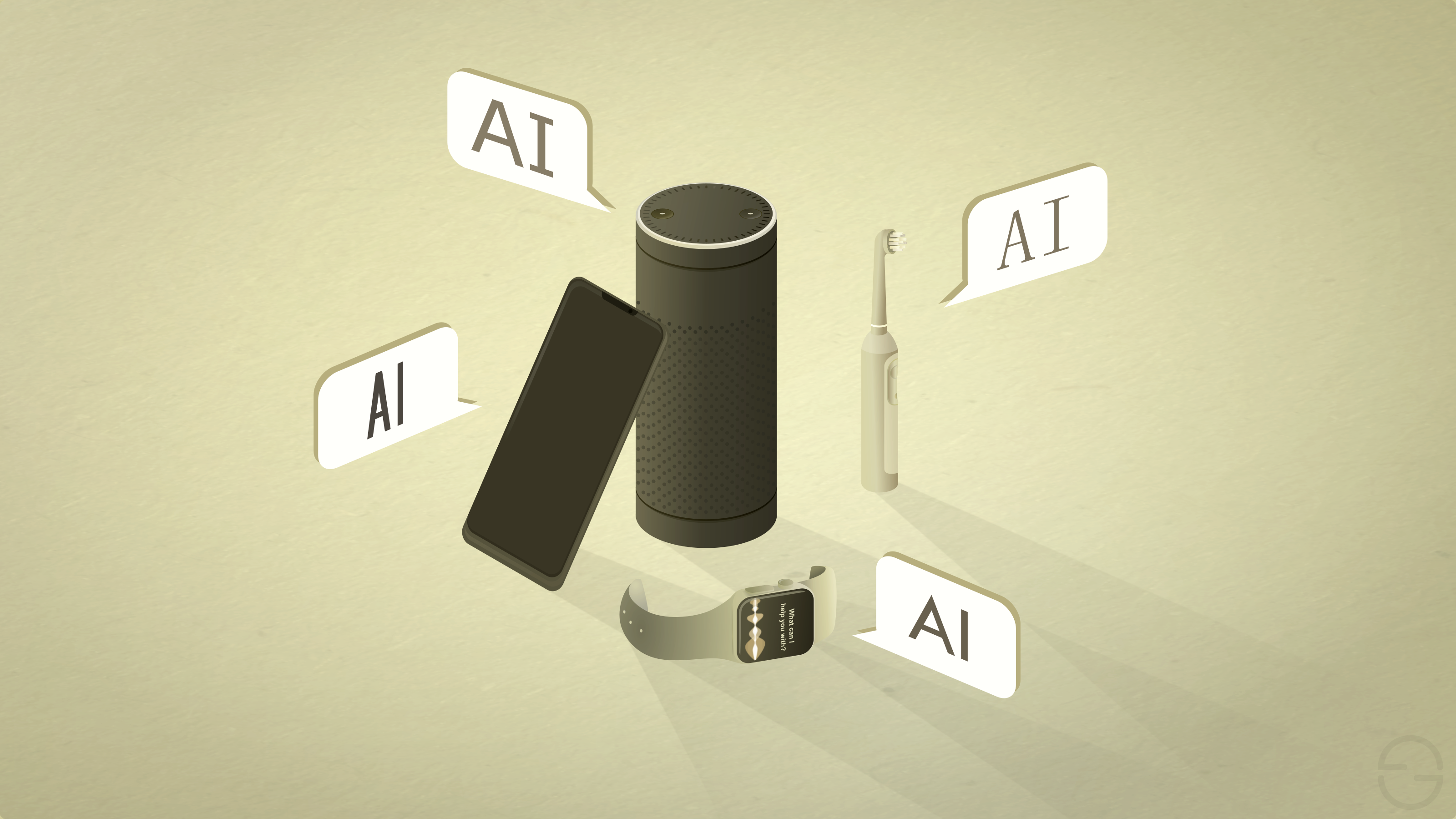 """A smartphone, a smart speaker, a smart watch and an electric toothbrush, all labelled as """"AI""""."""