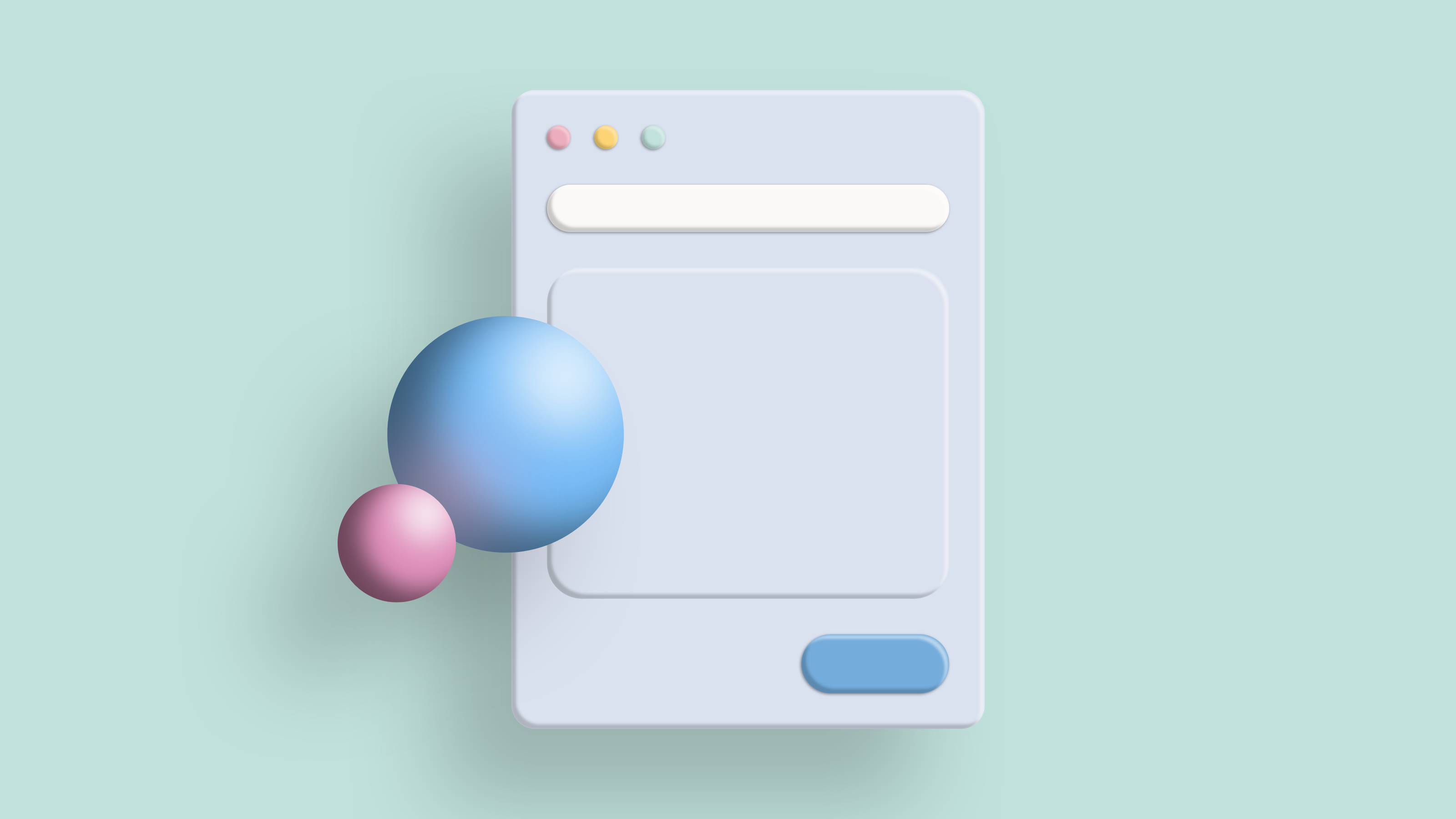 A simplified version of the title image: 3D illustration of a browser window and two spheres hovering over mint background