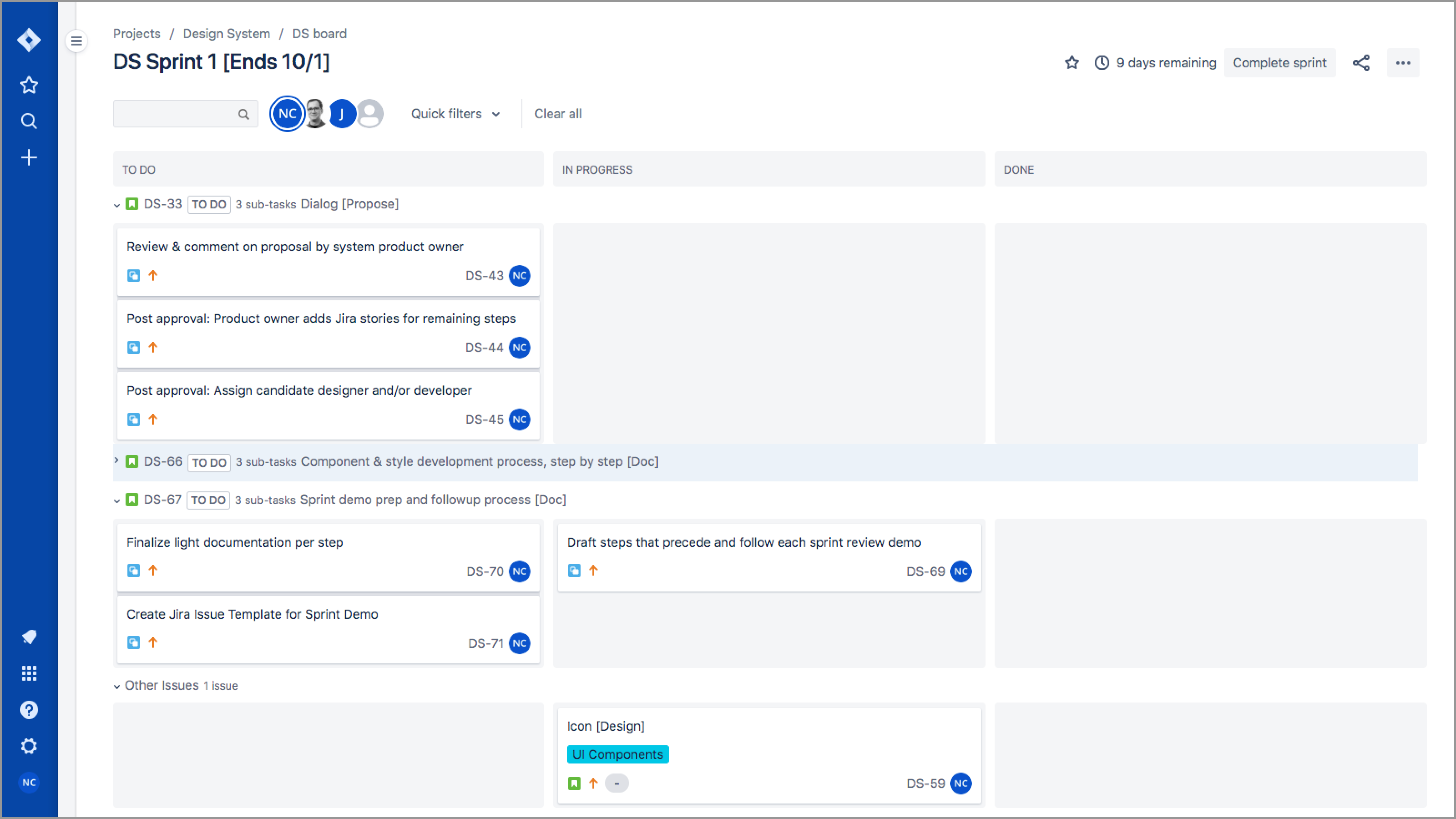 Jira's Active Sprints view of To Do, In Progress, and Done