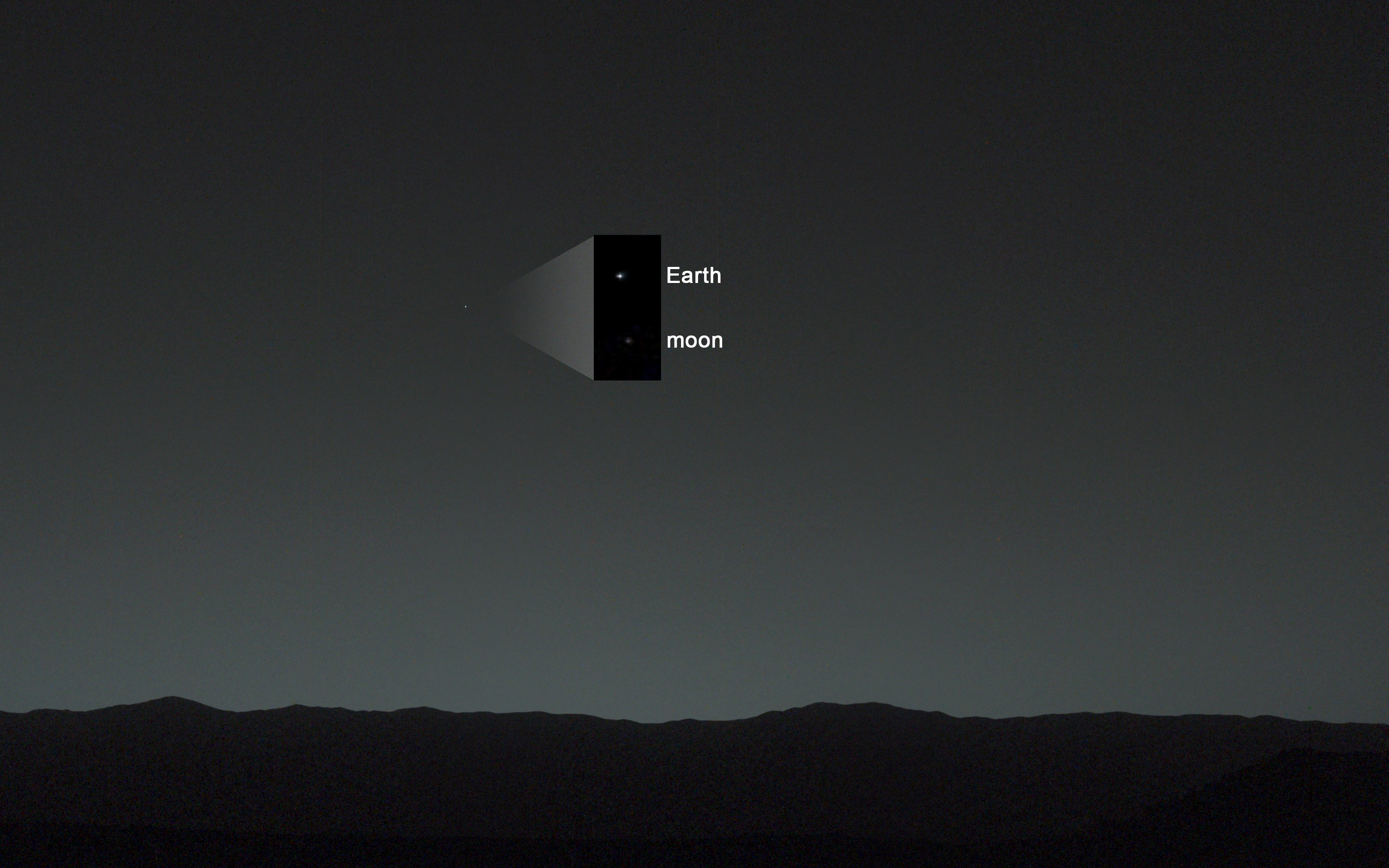 Real photo of Earth and Moon from Mars by NASA's curiosity rover