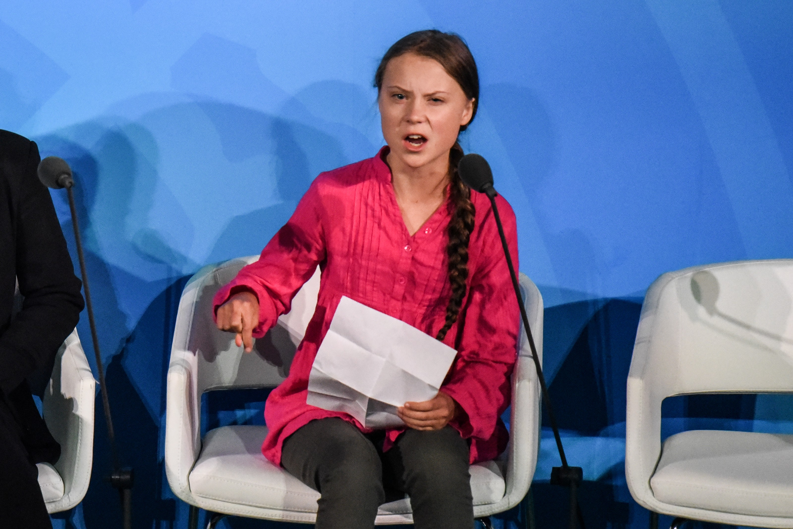 A photo of Greta Thunberg at the Climate Action Summit.