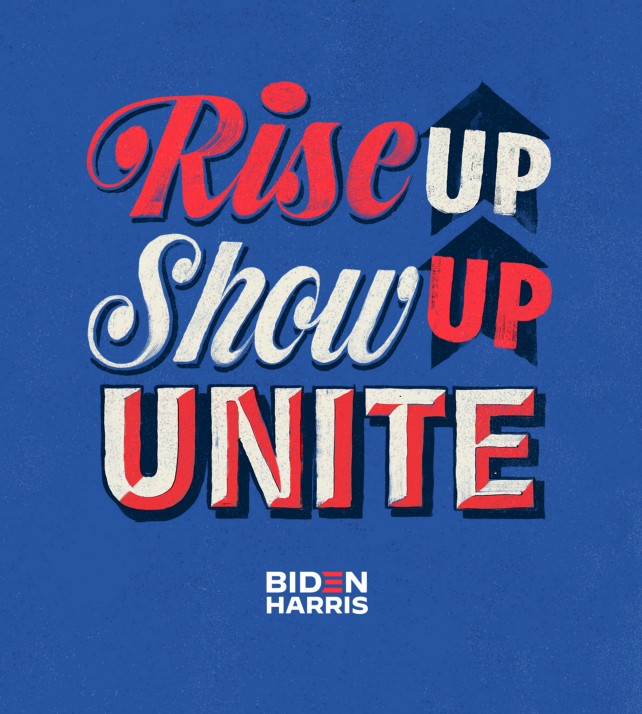 Lettering art of the phrase 'Rise up. Show up. Unite!' by Kyle Letendre