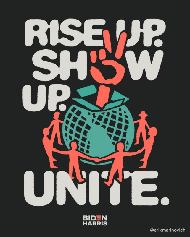 Lettering art of the phrase 'Rise up. Show up. Unite!' by Erik Marinovich