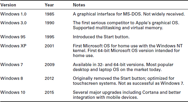 Operating system types and their interfaces in workstations