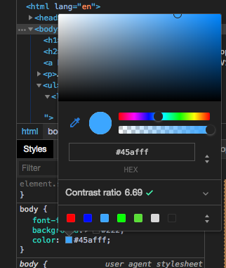 Console screenshot showing the color selector.