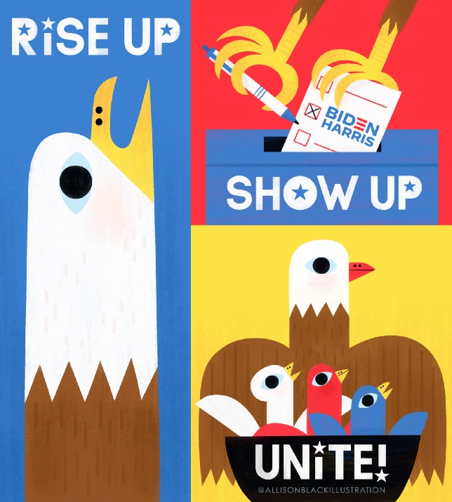 Lettering art of the phrase 'Rise up. Show up. Unite!' by Allison Black