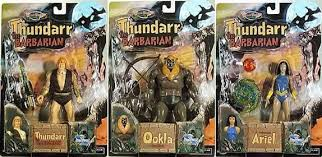 Three different Thundarr action figures made by Toynami in 2003