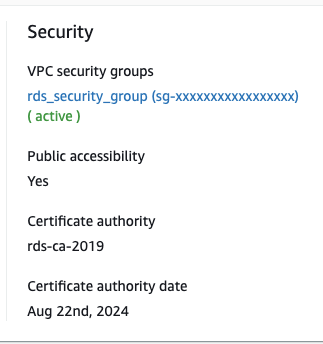 RDS Instance Security in AWS Console