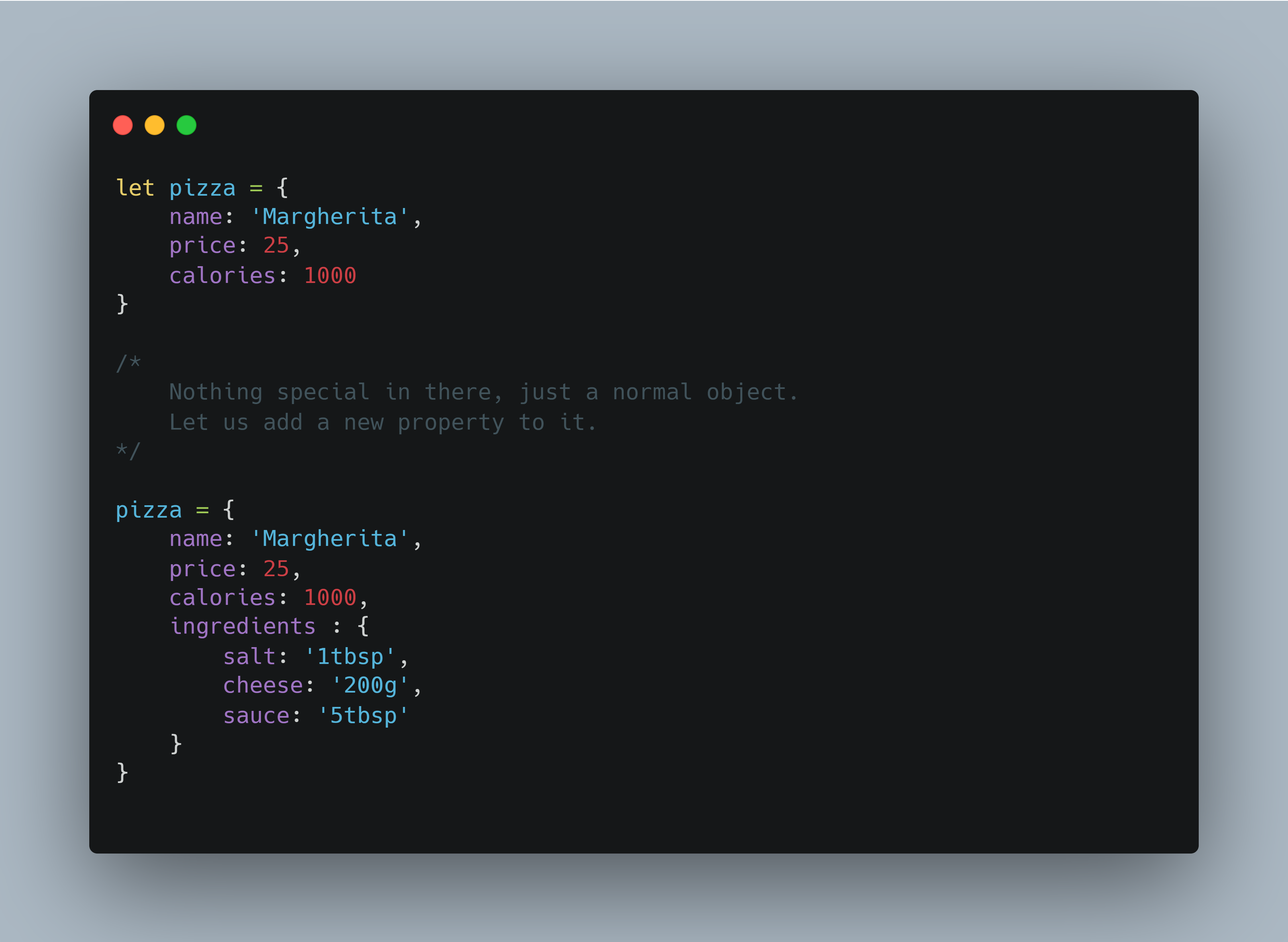 Objects code example 1