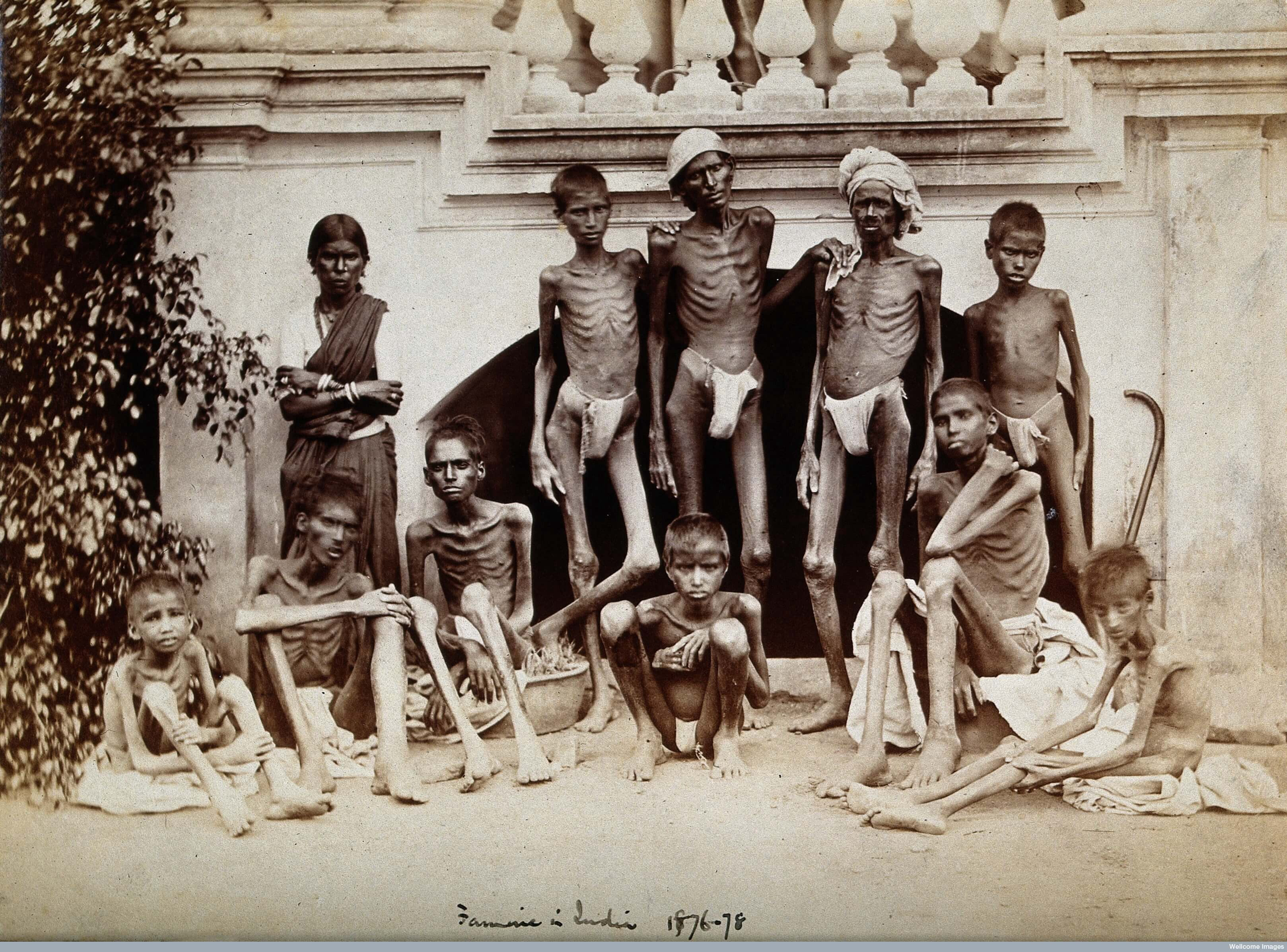 A famine-stricken family in Bangalore during the 1876–1878 famine.