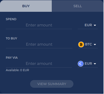 CoinMetro crypto swap function on dashboard