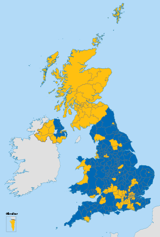 A map of the UK by how people voted in the Brexit referendum.