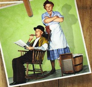 An image of Ma and Pa Kettle used to promote their movies.