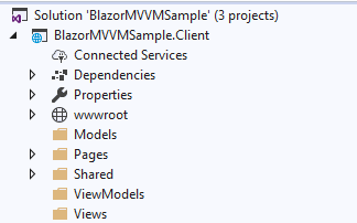 A simple MVVM implementation in client side Blazor