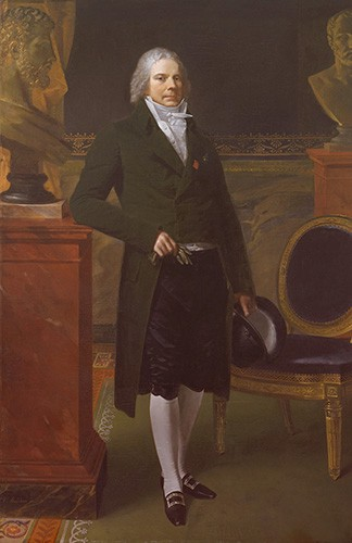 Talleyrand painted wearing a green jacket, black breeches, and holding a black hat.