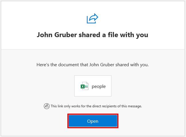 OneDrive email received when someone shares a file with you