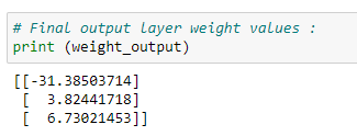 Figure 52: Displaying the final output layer weight values.