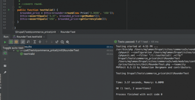 Test driven development in PhpStorm with auto-testing enabled