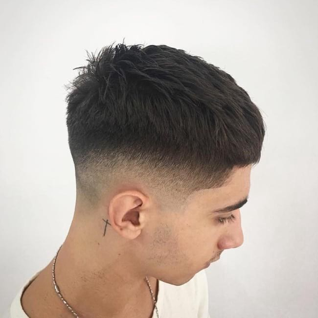 Textured Crew Cut With Tapered And Faded Sides On Dark Hair By Hairstyleology Medium