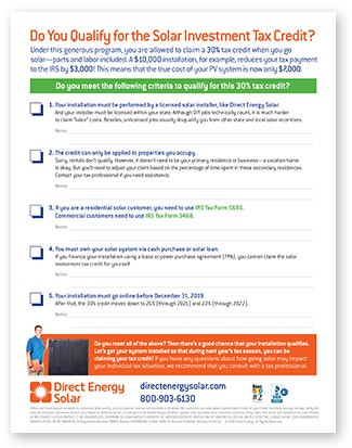 Direct Energy Pay As You Go >> Checklist Do You Qualify For The Solar Investment Tax Credit