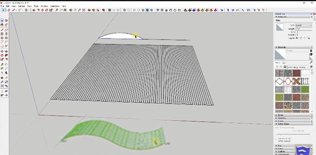 Shape Bender tool creates Curved Metal Panels in SketchUp