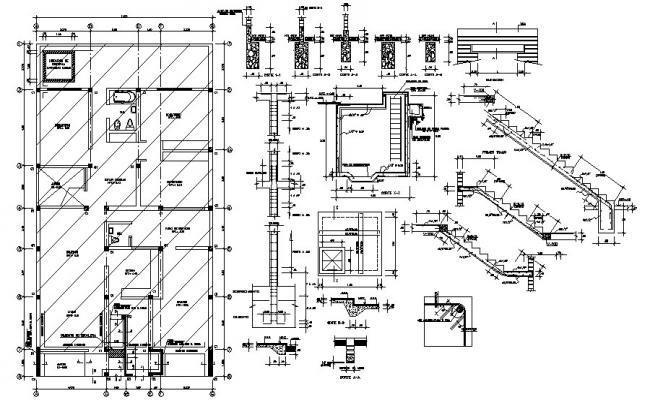 Autocad drawing of a residential house with foundation