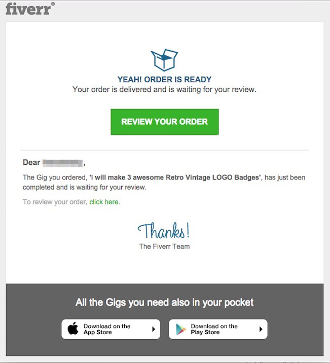fiverr transactional email