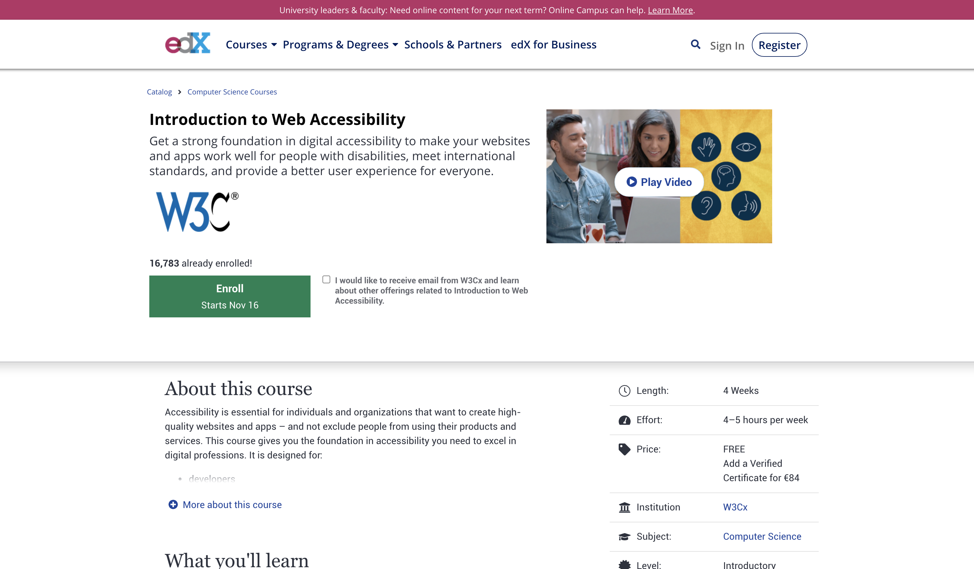A screenshot of the website edX where you could follow the Introduction to Web Accessibility training